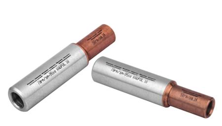 Złączka kablowa aluminowo-miedziana z przegrodą szczelną, wg standardu DIN DZAM 35/35
